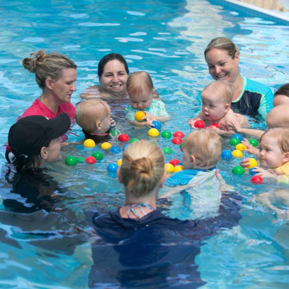 Babies group swimming lesson