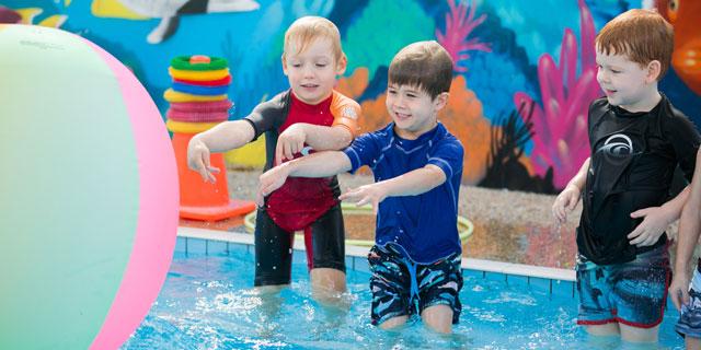 Children enjoying the fun swim lesson